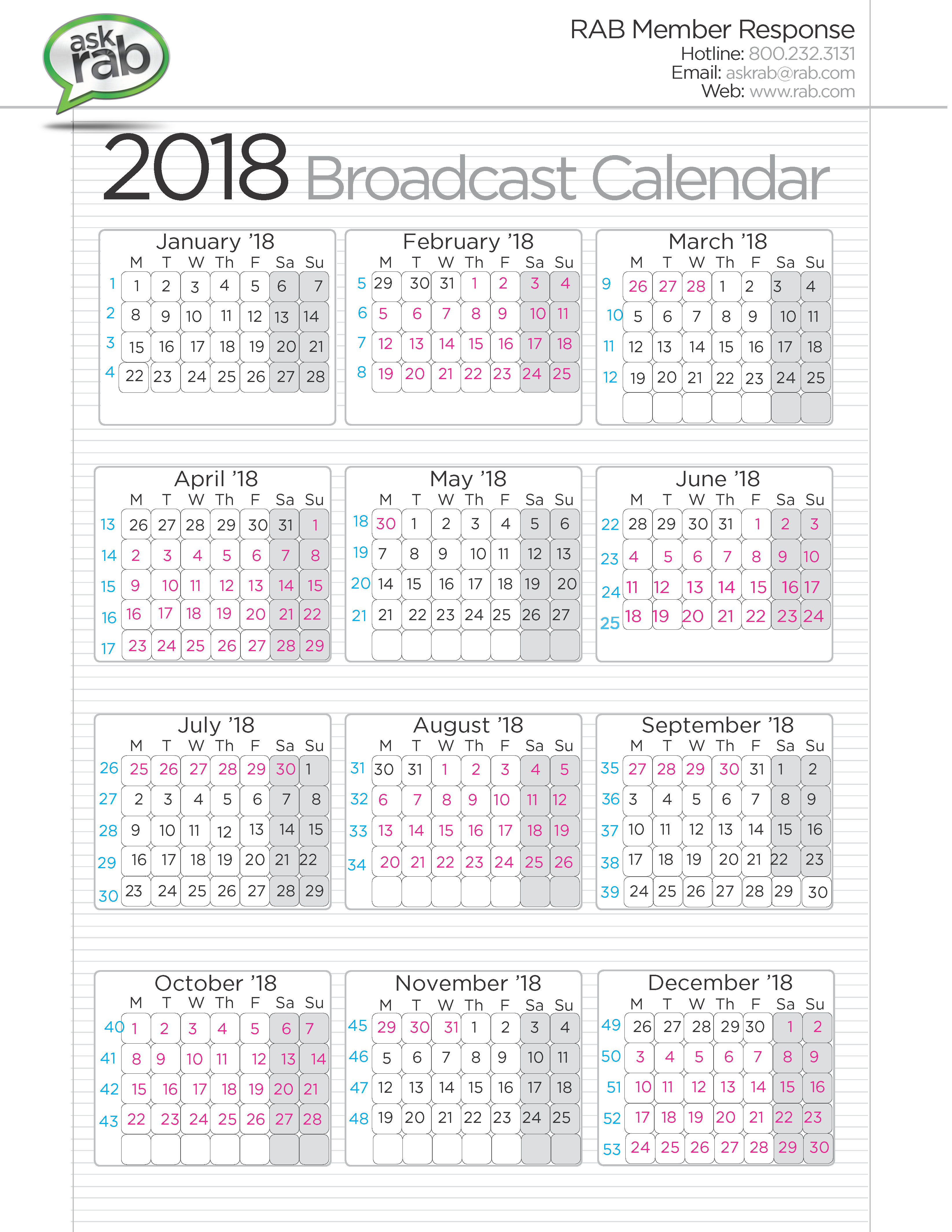 images of 2018 calendars