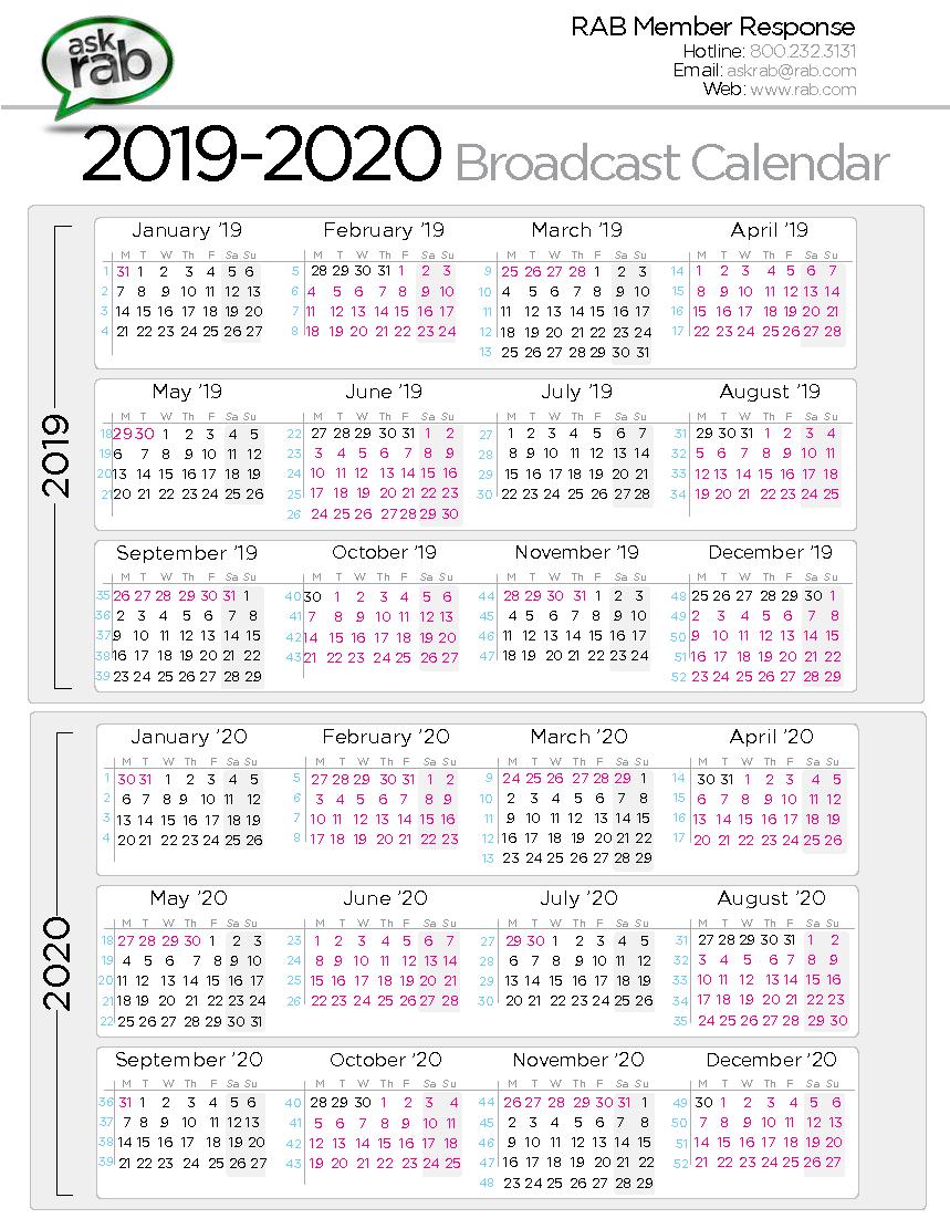 2019 2020 broadcast calendar
