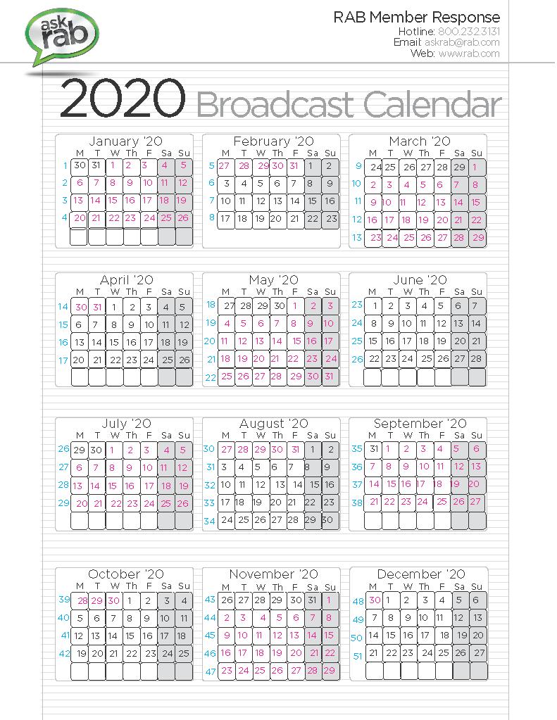 2020 broadcast calendar