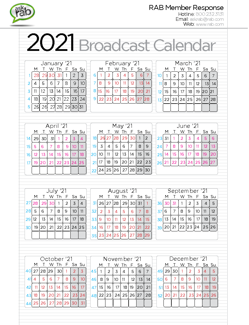 2020 broadcast calendar rabcom