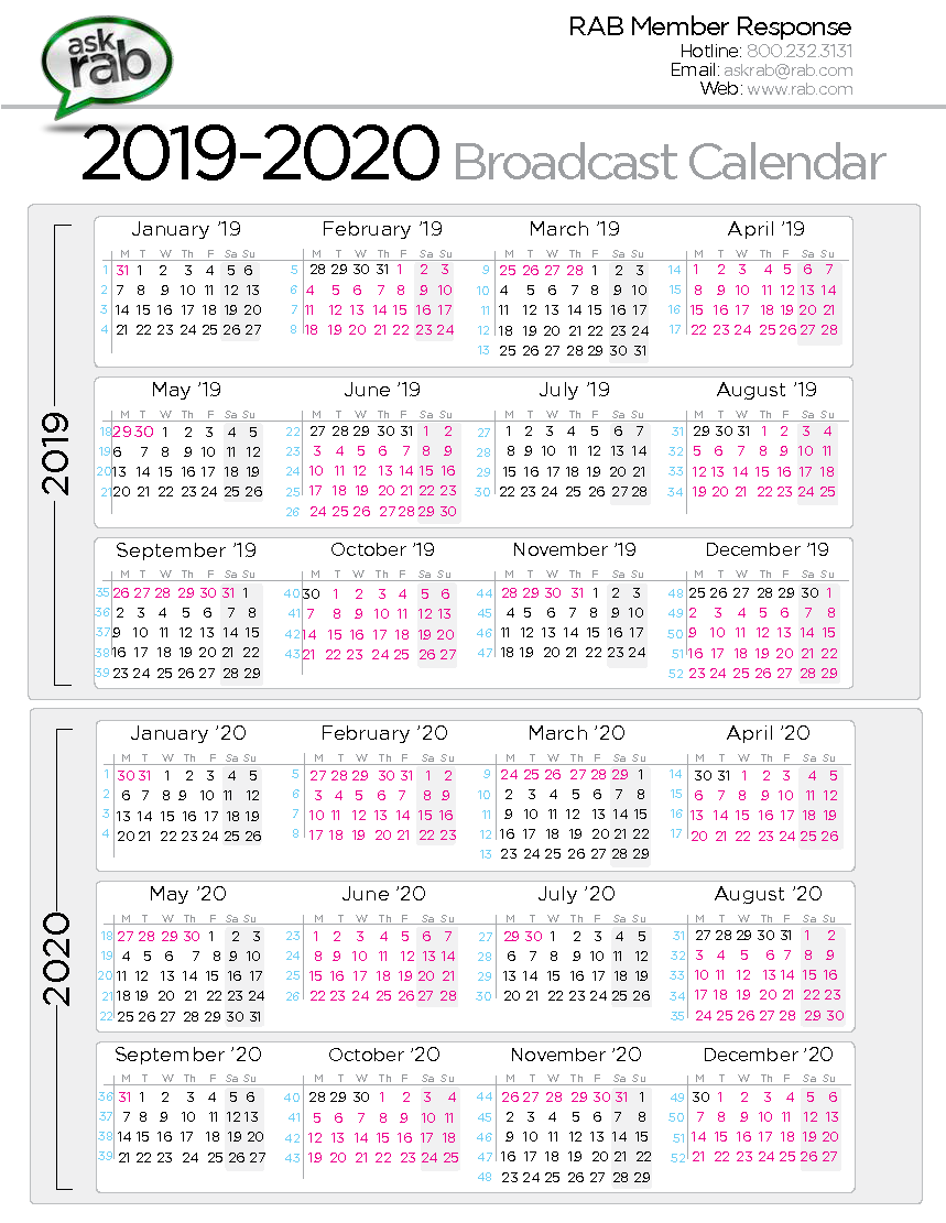 Mini Calendario 2020 Png.Broadcast Calendars Rab Com