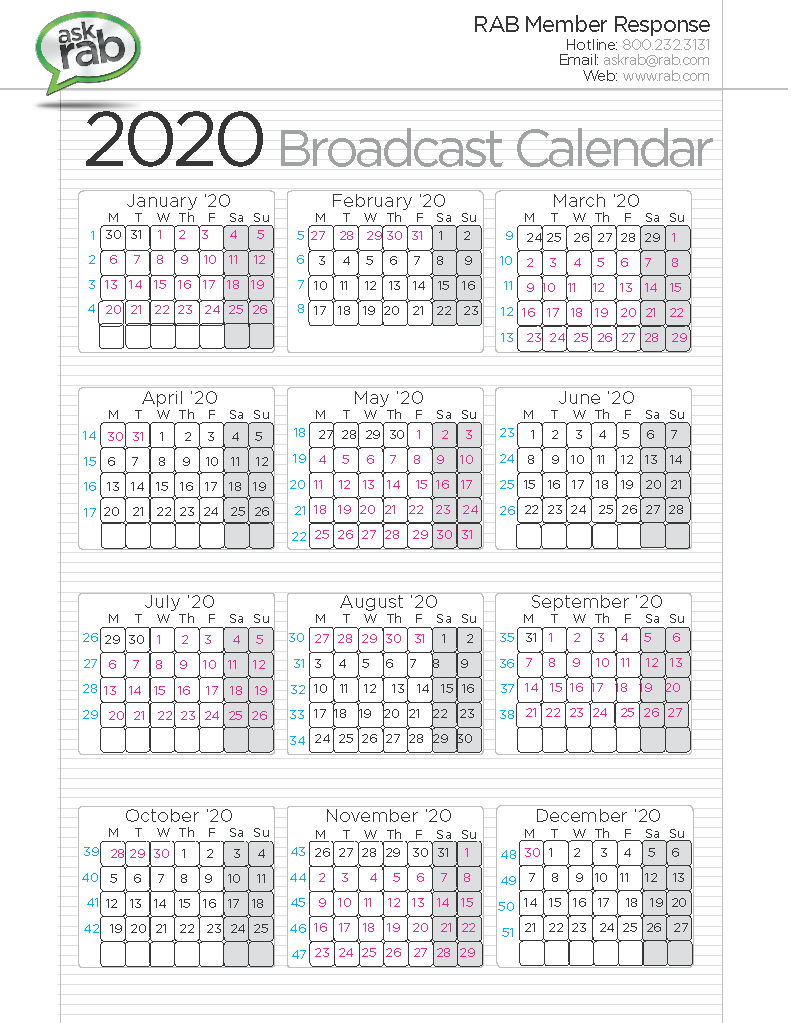 Sept Calendar 2020.Broadcast Calendars Rab Com
