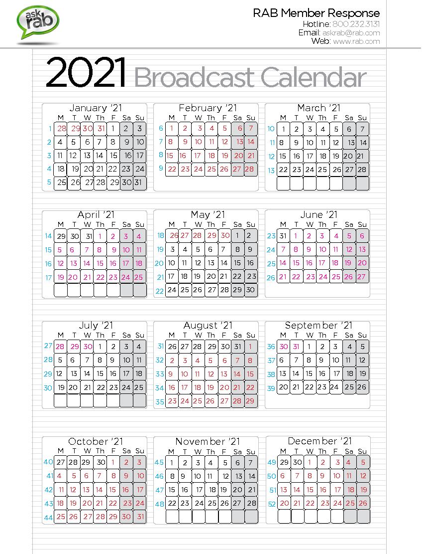 Calendario Coop 2020.Broadcast Calendars Rab Com